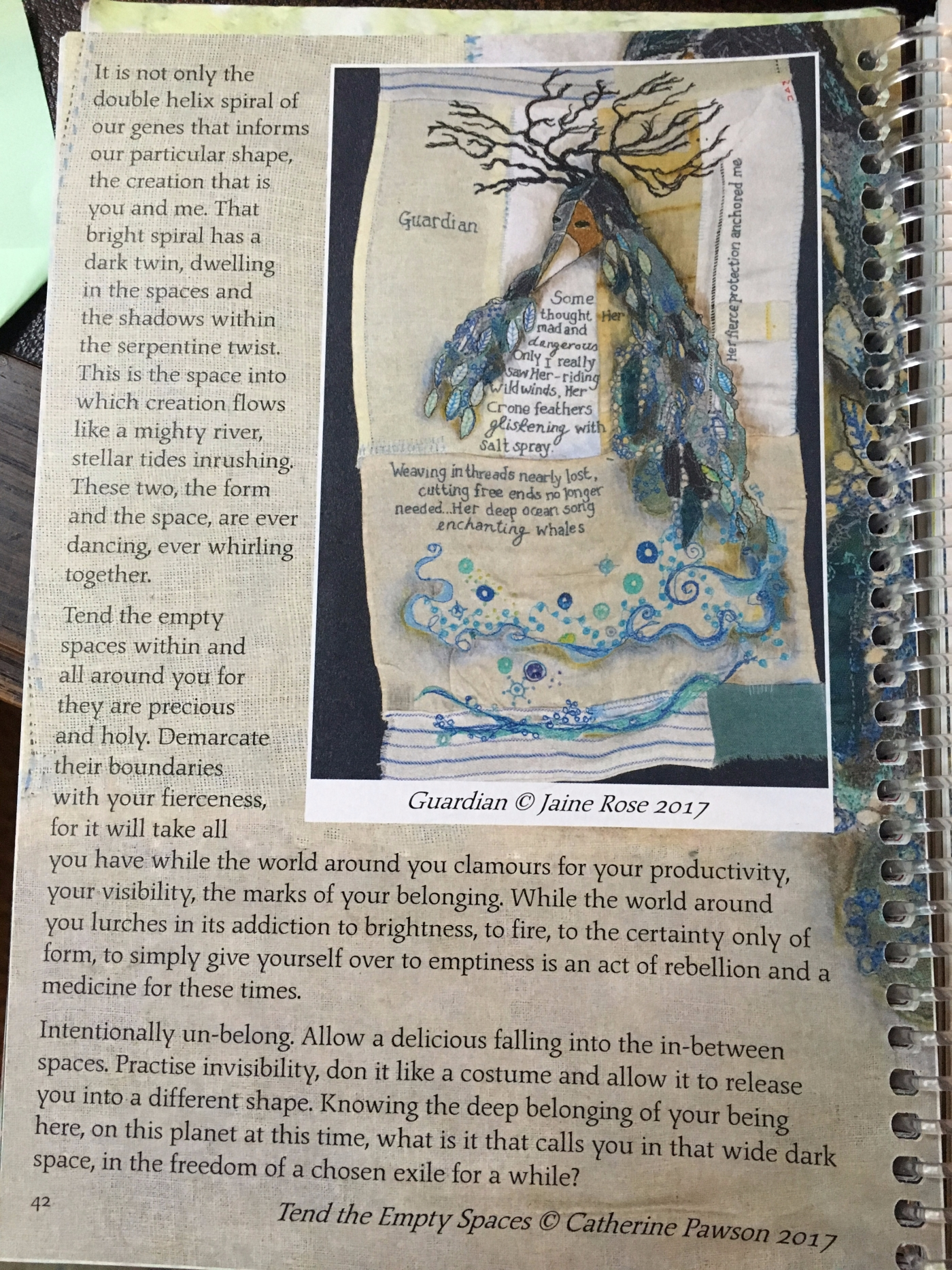 Diary page 42, Earth Pathways Diary 2019